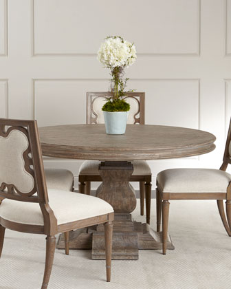 Linen Clover Side Chair & Shandling Dining Table