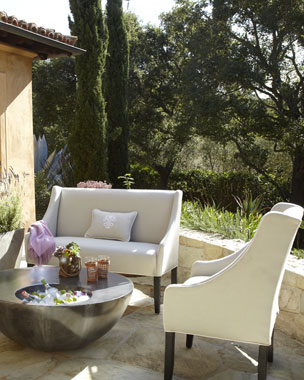 Outdoor Beverage Table & Upholstered Banquette and Chair