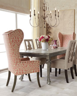 "Haute House ""Liday"" Dining Table, ""Benjamin"" Linen Chair, and Pink Damask Wing Chair"