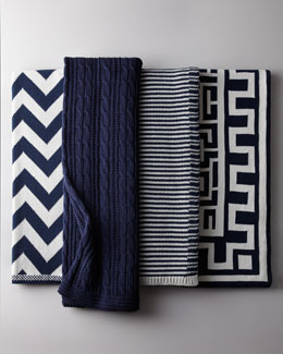 Navy and White Cotton Throws