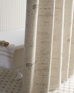 "French Laundry Home ""French Script"" Shower Curtain"
