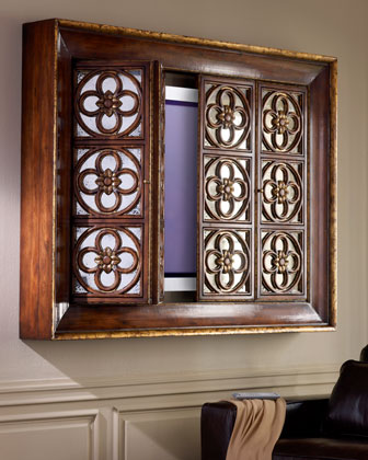 John richard collection quatrefoil flat screen tv for Hidden tv cabinets for flat screens