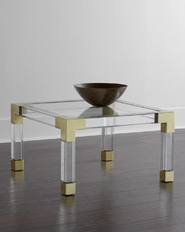 Jacques Lucite & Brass Coffee Table