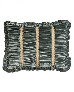 "Dian Austin Couture Home Ruched Velvet Boudoir Pillow with Braid Accents & Ruffle Edge, 12"" x 16"""