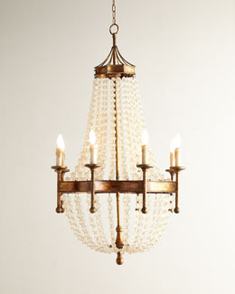 Frosted Crystal-Bead Eight-Light Chandelier