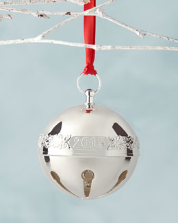 2015 Silver-Plated Sleigh Bell Christmas Ornament