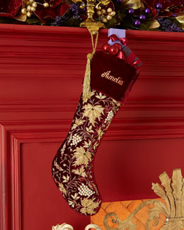 Sudha Pennathur Burgundy Velvet Christmas Stocking