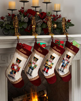 Peking Handicraft Nutcracker Needlepoint Christmas Stockings