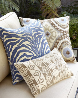 Elaine Smith Global Blue, Tan, & Brown Outdoor Pillows