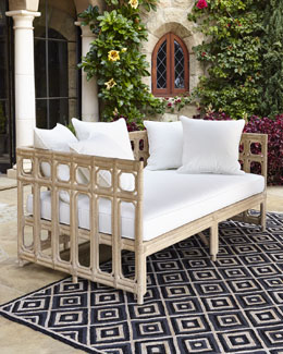 Faux-Bamboo Outdoor Sofa & Cushion Set
