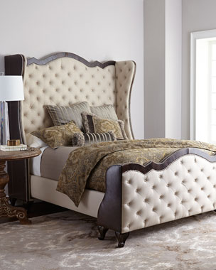 Massoud Ashton Linen & Leather Headboards & Beds