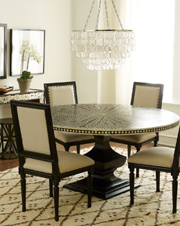 Patricia Side Chairs & Vivian Inlay Dining Table