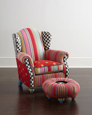 MacKenzie-Childs Wee Wing Chair & Tuffet