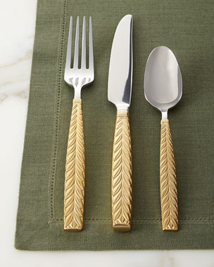 20-Piece Feather Gold-Accent Flatware Service
