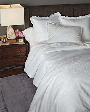 AERIN White Ikat Bedding & 500TC Scallop-Applique Sheets