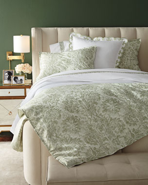 AERIN Watercolor Damask Bedding & 500TC Embroidered Scroll Sheets