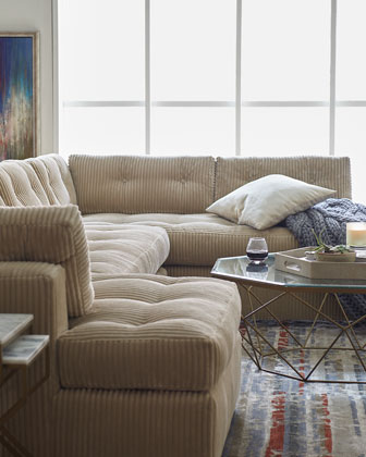 McLain Ivory 3-Piece Sectional & Armless Loveseat