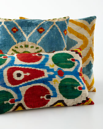 Red/Green/Blue Silk Velvet Pillow, 24