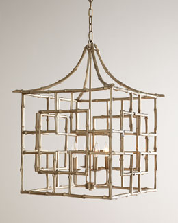 Bamboo Fretwork Four-Light Chandelier