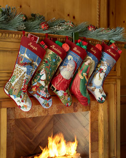 SFERRA Needlepoint Holiday Stocking
