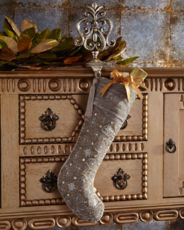 Sudha Pennathur Silver-Tissue Christmas Stocking