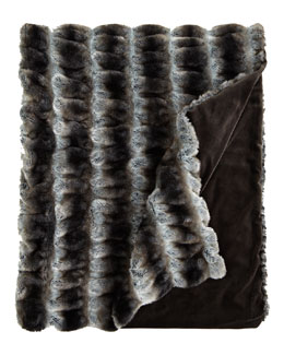 Gray Faux-Fur Throw