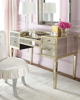 Shelly Vanity Chair & Amelie Mirrored Vanity