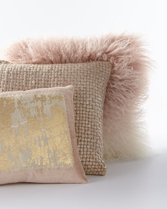 Dip Dye Curly Sheepskin Pillow, 18