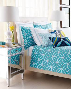 Trina Turk Turquoise Trellis Bedding & Palm Springs Block 400TC Sheet Sets
