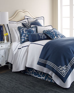Scalamandre Maison Haveford Bleu Bedding & Bargello 200TC Sheets