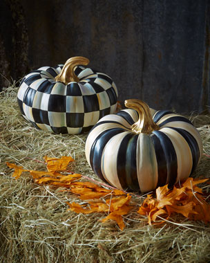 MacKenzie-Childs Courtly Check & Courtly Stripe Small Squash Pumpkins