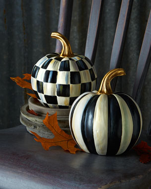 MacKenzie-Childs Courtly Check & Courtly Stripe Mini Pumpkins