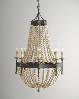 Regina-Andrew Design Wood Bead Eight-Light Chandelier