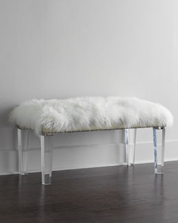 "Massoud Alala 40""L Sheepskin Bench"