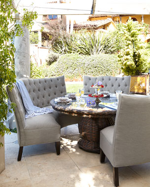 Round Glass-Top Table & Tufted Outdoor Seating, Granite