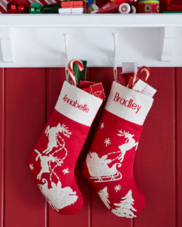 Red Santa & Sleigh Stocking