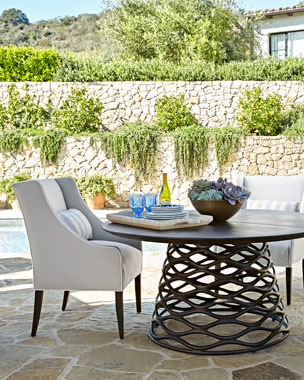 Industrial Renaissance Table & Outdoor Upholstered Chair