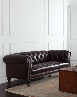 Lina Tufted Leather Sofa