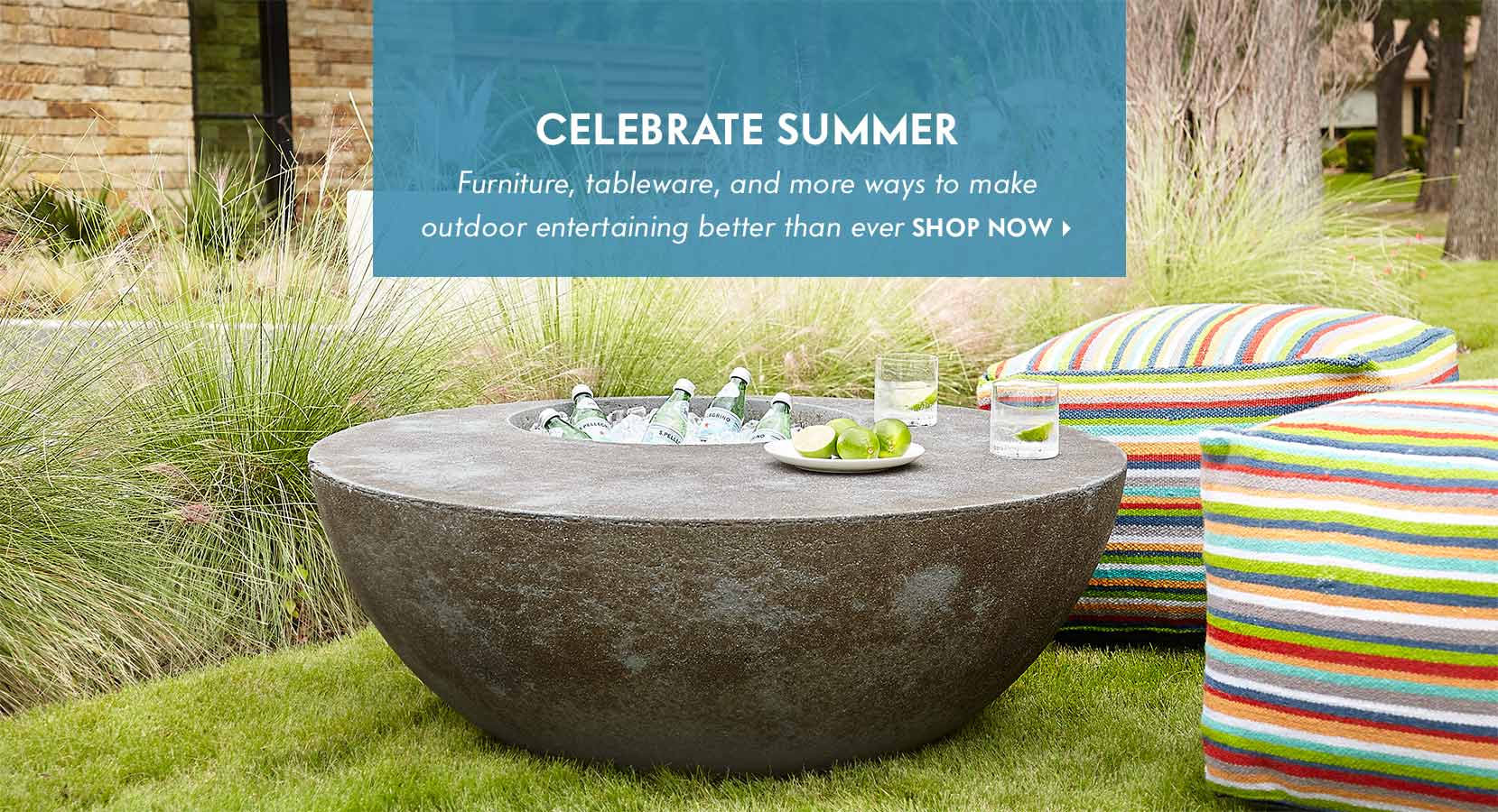 outdoor party entertain pool patio furniture dinnerware glassware