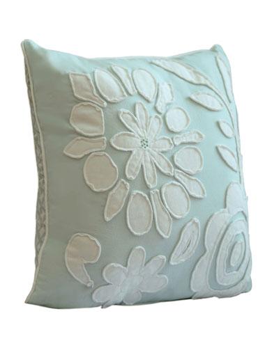 Cloud Aqua Pillow w/ Floral Applique, 18