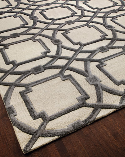 Gray Abstract Rug, 6' x 9'