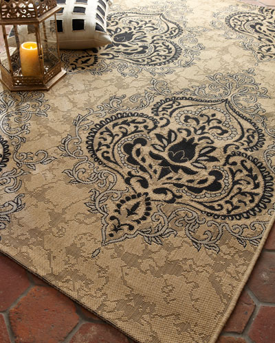 Outdoor Damask Rug, 5'3