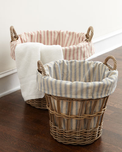 Large Laundry Basket with Ticking-Stripe Liner