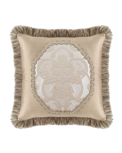 Pure Pewter Pieced Pillow with Brush Fringe, 20