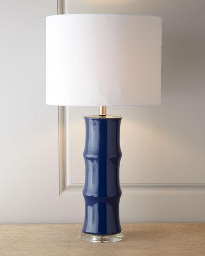 BLUE CERAMIC LAMP W/ WHITE L
