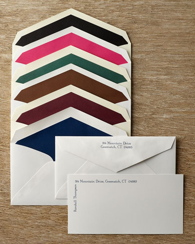50 Slender Cards with Personalized Envelopes