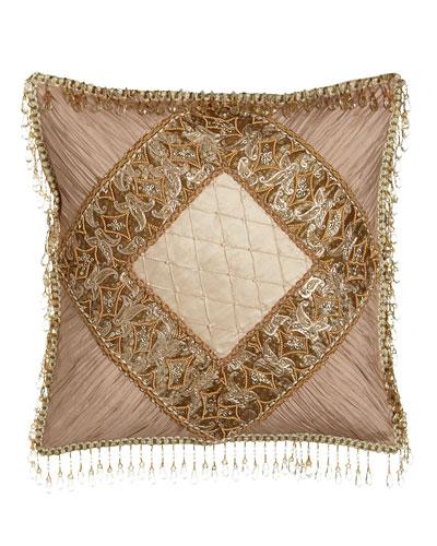 Alessandra Pillow with Shirred Silk Corners & Bead Embellishment, 16