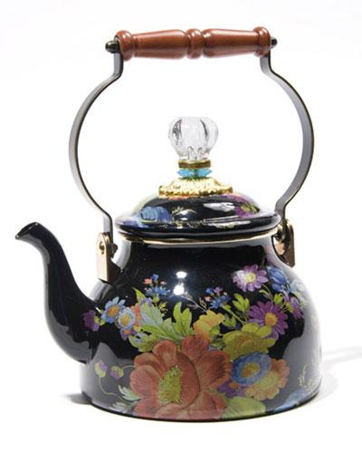 Flower Market Black Two-Quart Tea Kettle