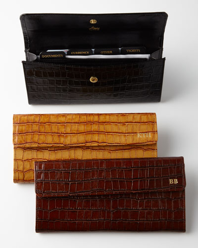 Crocodile-Embossed Travel Organizer