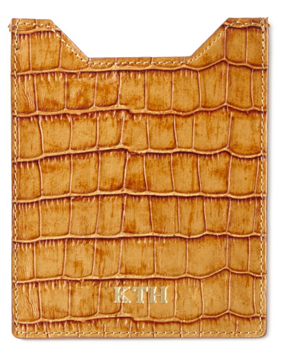 Crocodile-Embossed Passport Sleeve